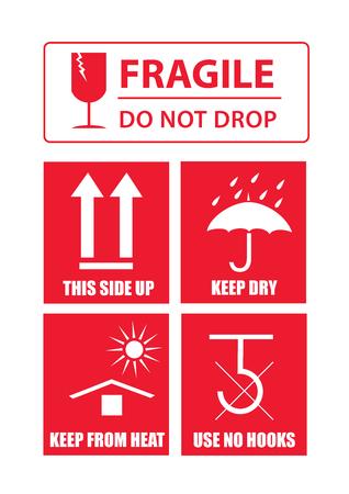 Fragiele sticker set Stock Illustratie