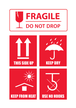 Fragile sticker set Vettoriali