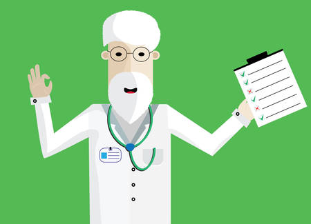 doctor appointment: Smiling Doctor with beard and test showing ok. Illustration