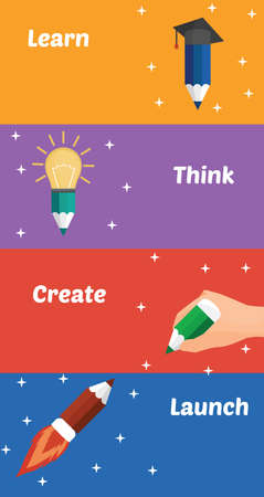 creating: llustration of four parts of creative process: learning, thinking, creating, launching