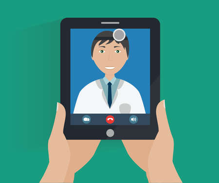 Hands holds tablet with smiling doctor on screen. On line medical consultation conceptual illustration