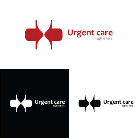 quick response: Urgent care medical company, doctor, emergency, clinic, hospital, quick responce unit logo. Negative space medical logotype.