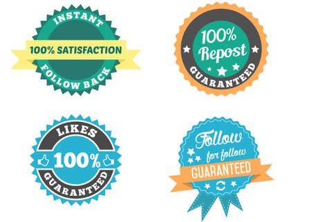 Social media badges set. One haundred percent follow back guaranteed. Like, follow, repost social media interactions and communications badges. Illustration