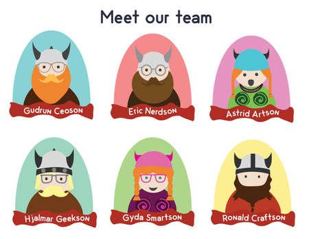 programmers: Creative team character set. Vikings characters.