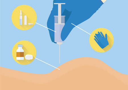 inyeccion intramuscular: Mano en el guante está haciendo la inyección injection.Intramuscular ilustración educativo. Vectores