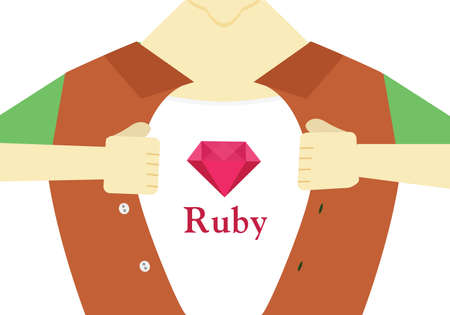 programer: Ruby hero flat design.Advanced ruby programming conceptual illustration. Ruby language courses illustration.