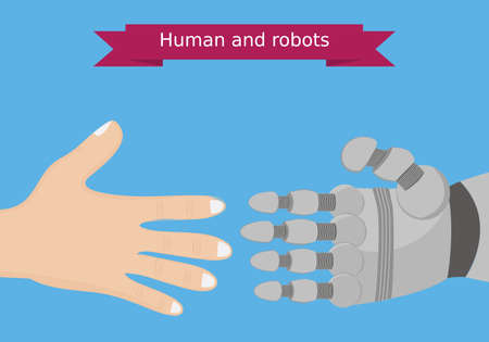 interactions: Human and robot hands flat design. Human and robot interaction conceptual illustration.Global automatizing concept. Illustration