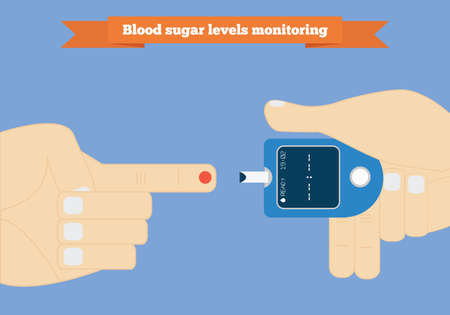 Check your blood glucose level at home conceptual illustration. Diabetes screening Illustration