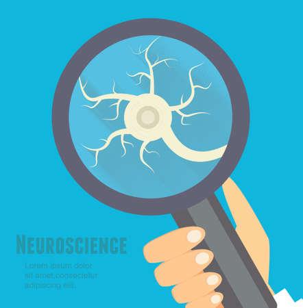 sistema nervioso: Ilustración plana Neurociencia. Nervioso concepto reaserch sistema.