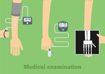 medical testing: Medical examination flat illustration. Blood pressure measure, pulse oximetry, radiography flat design