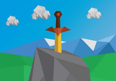 broadsword: Sword in stone polygonal illustration Stock Photo