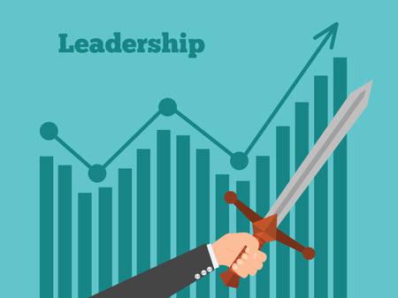 liderazgo: Concepto de la dirección. Líder de negocios muestra el camino al éxito