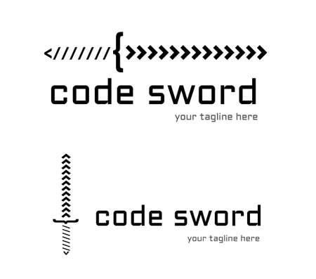 programming code: Programming company logo design. Code sword logo. Illustration