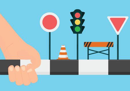 manejando: Conducir concepto de escuela. Aprender las normas de conducción y señales ilustración vectorial Vectores