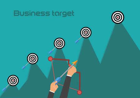 New business target flat illustration. Revenue growth concept