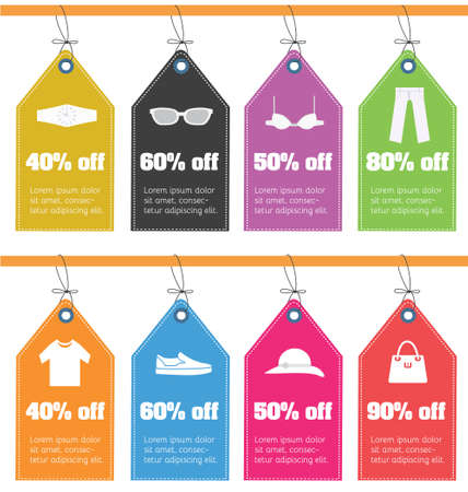 sale off: Set of pricing tags with clothes icons. Sale off flat design tags