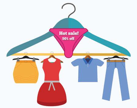 etiquetas de ropa: Venta caliente ilustración conceptual. Trempel con ropa de compras etiquetas y descuentos