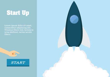 rocket launch: Rocket ilustraci�n lanzamiento del vector. Iniciar negocio Dise�o plano hasta la unidad de h�roe.