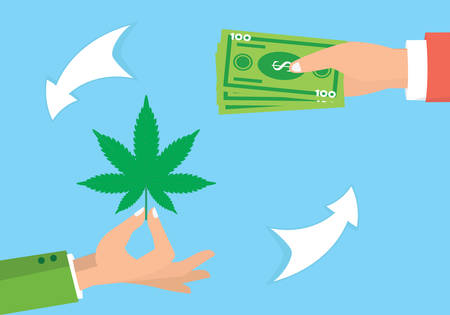 Drug trafficking illustration. Illicit marijuana trade. Drug dealing