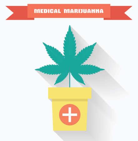 leaf marijuana: Concepto de la marihuana medicinal. Hoja de marihuana en una olla con s�mbolo cruzado m�dico. Vectores