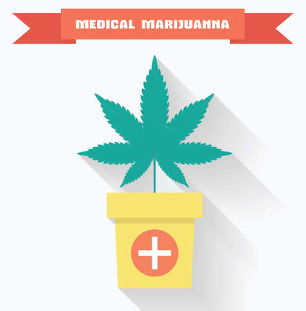 marijuana plant: Medical marijuana concept. Marijuana leaf in pot with medical cross symbol.