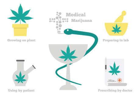 marijuana plant: Medical marijuana icons set and  design. Illustration