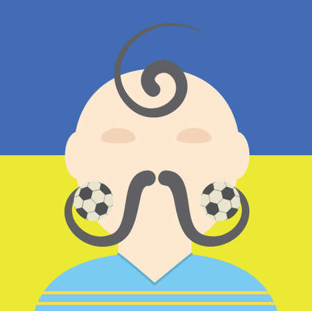 cossack: Ukrainian soccer player conceptual illustration. Cossack with football mustaches. Illustration