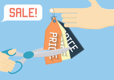 price cutting: Sale off vector illustration. Cutting price flat illustration. Illustration
