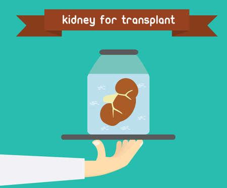 Concepto de trasplante renal. Ilegal ilustración comercio de órganos