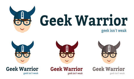 Geek character design. Geek warrior. Male face with glasess and viking helmet.