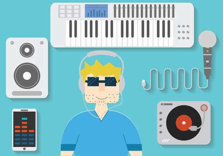 disk jockey: Illustrazione di uomo in cuffia con strumenti dj e musica. Appartamento vettore concetto disk jockey.