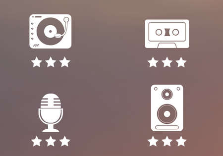disk jockey: Music instruments icons and symbols on blurred background. Illustration