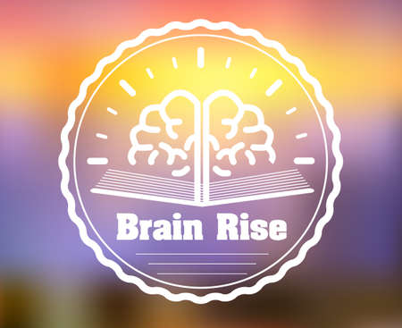 courses: Learning and education. E-learning courses brain badge on blurred background Illustration
