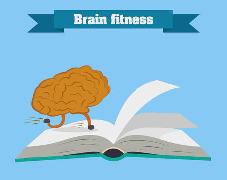 self development: Brain fitness illustration. Brain is running on the book vector.