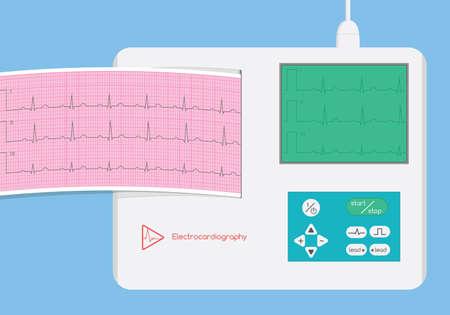 Electrocardiograph with monitor and ecg strip illustration Zdjęcie Seryjne - 46186399