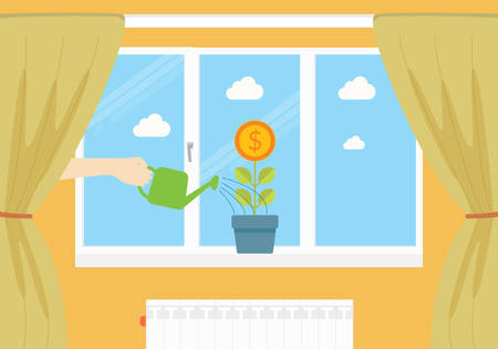 earn money: Earn money at home conceptual illustration. Money plant in pot is watering by human hand.