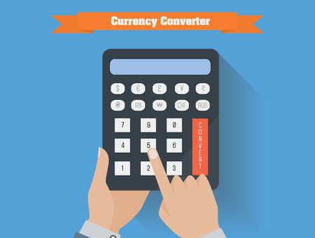 currency converter: Currency converter vector illustration. Hands with currency calculator flat design.