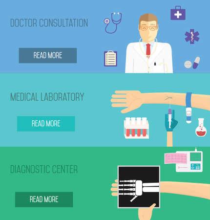 doctor consultation: Medical services illustration. Doctor consultation, laboratory analisyses and diagnostic center. Illustration