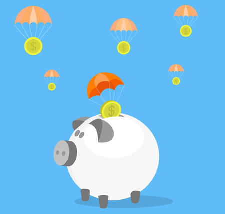 flying pig: Money savings conceptual illustration. Parachute coins landing in money box. Illustration