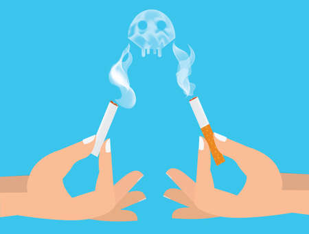 harm: Hands breaking cigarette illustration. Harm of smoking concept.
