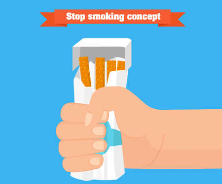 Stop smoking concept. Hand crushing a packet of cigarettes vector. Smoking cessation conceptual illustration. Иллюстрация