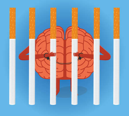 Jail for brain. Brain character behind row of cigarettes. Smoking addiction conceptual illustration. Illustration