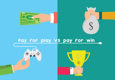 pay: Pay for play and pay for win vector illustration