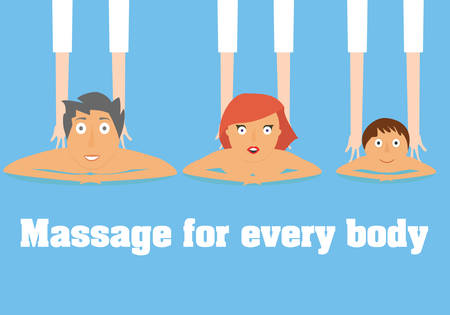 Massage for everybody conceptual illustration. Man, woman and child massage therapy vector