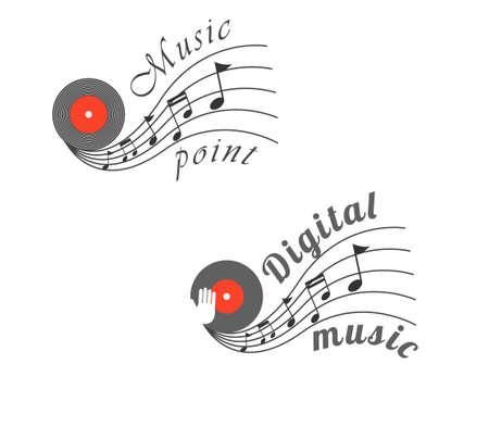 disc jockey: Music notes and vinyl vector illustration