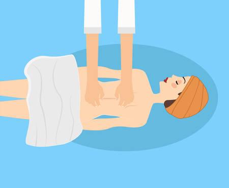 masaje: Masaje y relajarse ilustración vectorial. Dos manos están haciendo masaje clásico