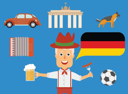 Travel German concept. German traditions and culture illustration.