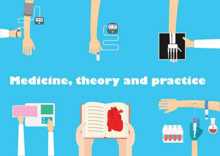 Learn medicine flat illustration. Medical education concept