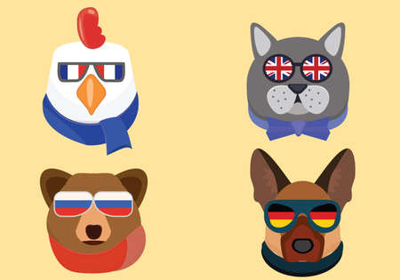 french culture: National animals illustration. Cute animals in national glasses Illustration