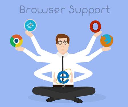 internet explorer: All browser support. Crossbrowser web development conceptual illustration